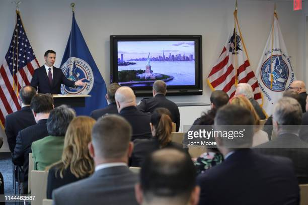 Acting Department of Homeland Security Secretary Kevin McAleenan answers questions from DHS personnel at the One World Trade Center on April 22 2019...