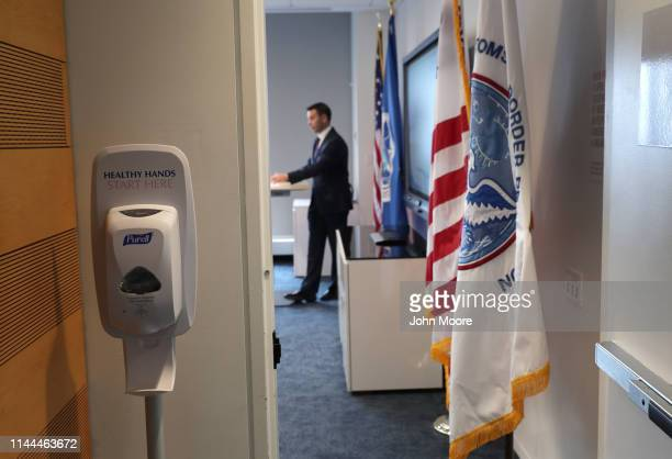 Acting Department of Homeland Security Secretary Kevin McAleenan listens to questions from DHS personnel at the One World Trade Center on April 22...