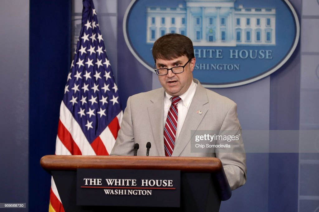 Acting Department of Veterans Affairs Secretary Robert Wilkie delivers a brief statement during the daily news conference in the Brady Press Briefing Room at the White House May 17, 2018 in Washington, DC. Wilkie thanked President Donald Trump for the gift of his salary to 'caregiver support in the form of mental health and peer support programs.'