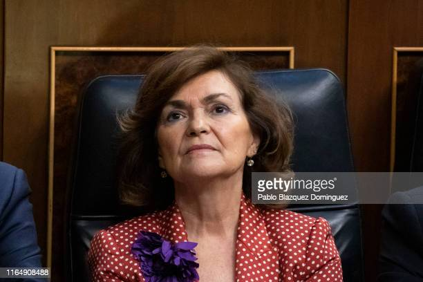 Acting deputy Prime Minister and member of Parliament for Spanish Socialist Workers Party Carmen Calvo attends to the third day of the investiture...