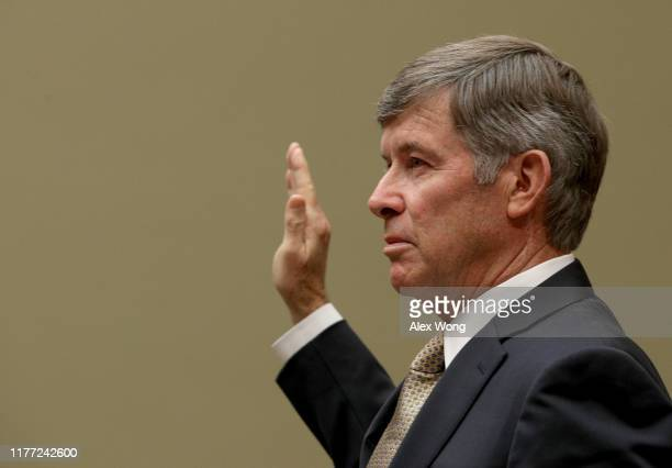 Acting Director of National Intelligence Joseph Maguire is sworn in prior to testifying before the House Select Committee on Intelligence in the...