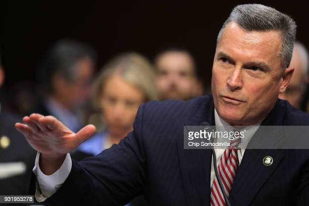 Acting Director of the Bureau of Alcohol Tobacco Firearms and Explosives Thomas Brandon testifies before the Senate Judiciary Committee during a...