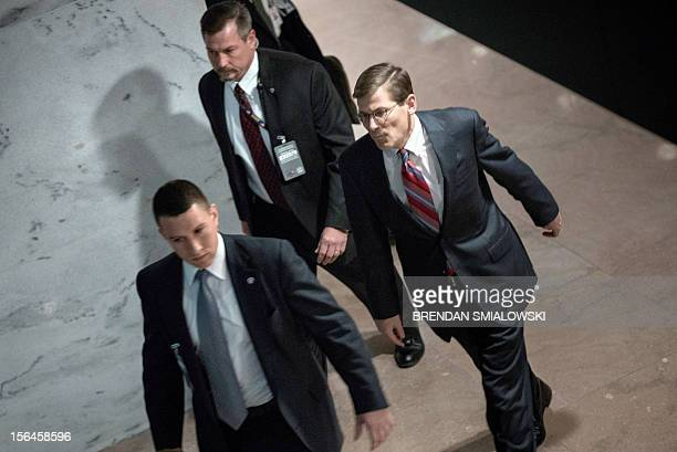 Acting Director of the Central Intelligence Agency Michael Morell leaves after a briefing before the Senate Select Committee on Intelligence briefing...