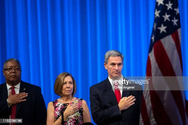 Acting Director of the U.S. Citizenship and Immigration Services Ken Cuccinelli attends a naturalization ceremony inside the National September 11...
