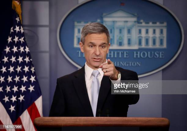 Acting Director of U.S. Citizenship and Immigration Services Ken Cuccinelli speaks about immigration policy at the White House during a briefing...