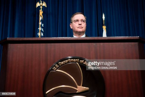Acting Drug Enforcement Administration Administrator Chuck Rosenberg speaks about fentanyl at the headquarters of the Drug Enforcement Agency June 6...