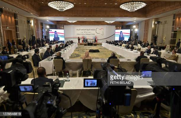 Acting envoy to Libya Stephanie Williams speaks at the opening of the Libyan Political Dialogue Forum hosted in Gammarth on the outskirts of the...