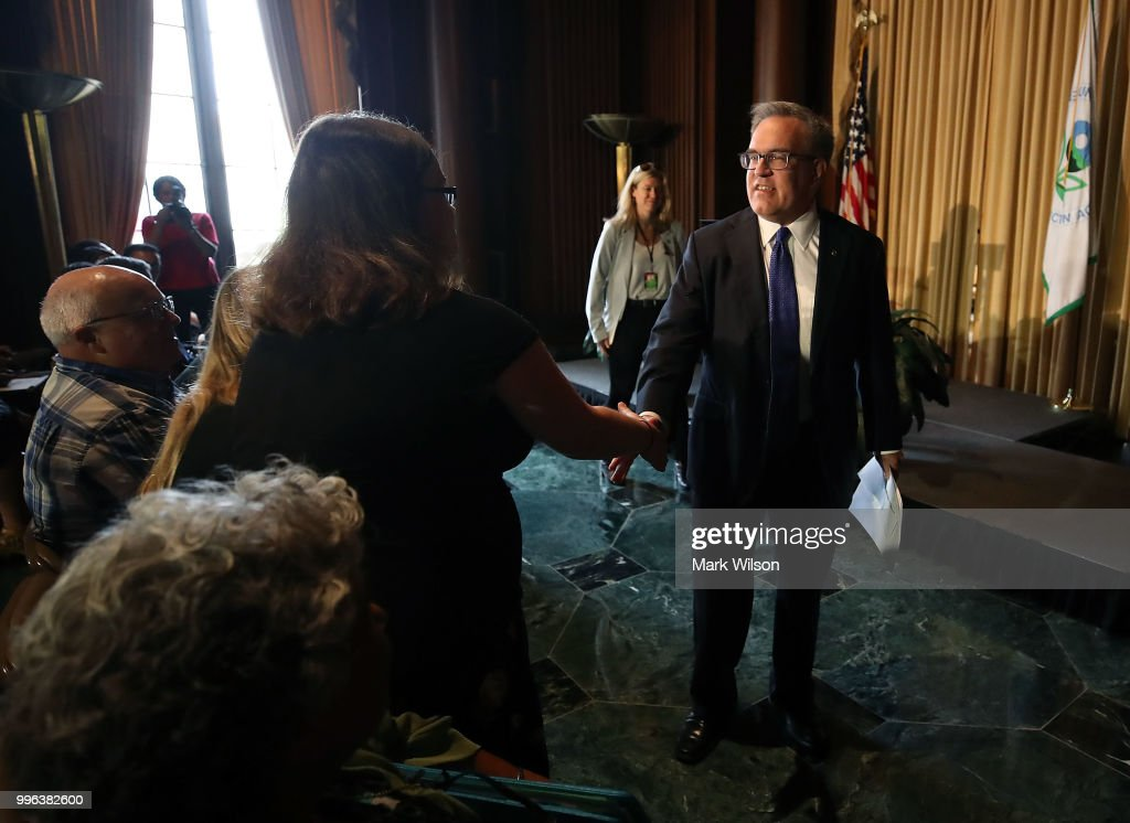 Acting EPA Administrator Andrew Wheeler greets employees at the Environmental Protection Agency headquarters on July 11, 2018 in Washington, DC. If confirmed by the U.S. Senate, Wheeler will replace Scott Pruitt who resigned last week.