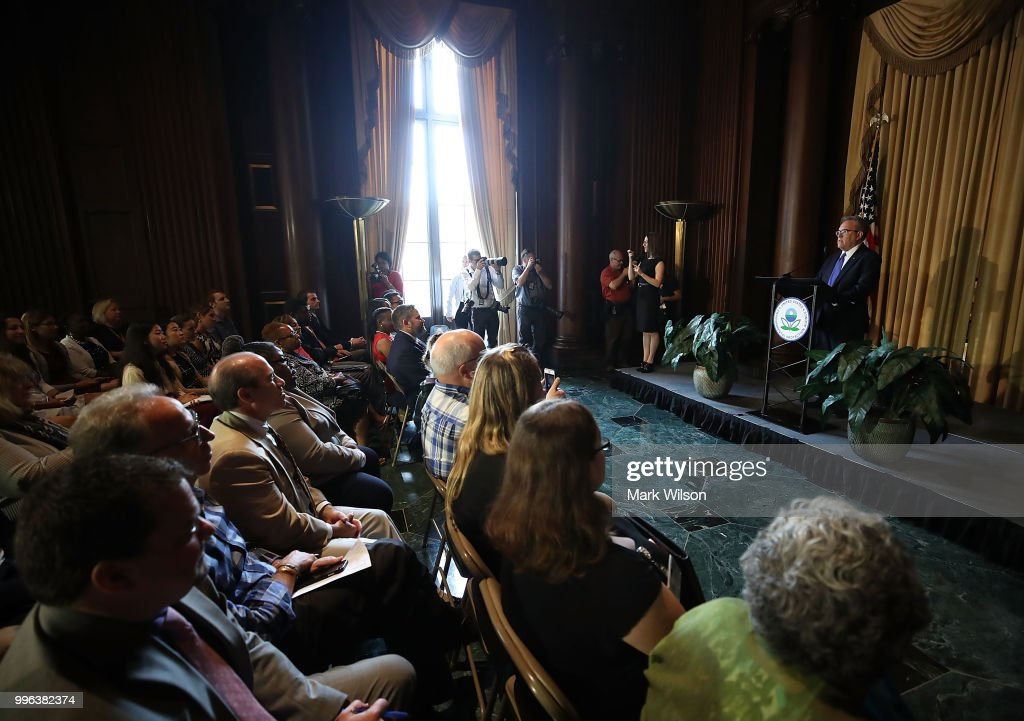 Acting EPA Administrator Andrew Wheeler speaks to employees at the Environmental Protection Agency headquarters on July 11, 2018 in Washington, DC. If confirmed by the U.S. Senate, Wheeler will replace Scott Pruitt who resigned last week.
