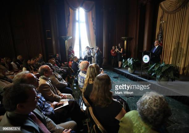 Acting EPA Administrator Andrew Wheeler speaks to employees at the Environmental Protection Agency headquarters on July 11 2018 in Washington DC If...