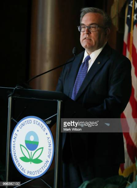 Acting EPA Administrator Andrew Wheeler speaks to staff at the Environmental Protection Agency headquarters on July 11 2018 in Washington DC If...