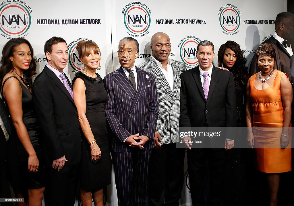 Acting Executive Director of the National Action Network Janaye Ingram, President of Lagardere Unlimited Football Joel Segal, Music Industry executive Sylvia Rhone, President and founder of the National Action Network Reverend Al Sharpton, Former Boxing champion Mike Tyson, Former New York Governor David Paterson and actress Valisia Lekae attend The 4th Annual Triumph Awards at Rose Theater, Jazz at Lincoln Center on October 7, 2013 in New York City.