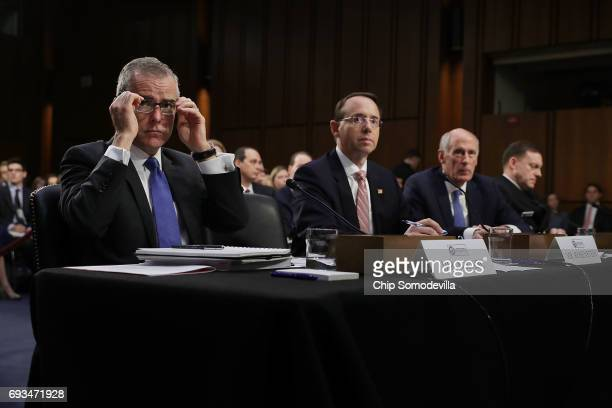 Acting FBI Director Andrew McCabe Deputy Attorney General Rod Rosenstein Director of National Intelligence Daniel Coats and National Security Agency...