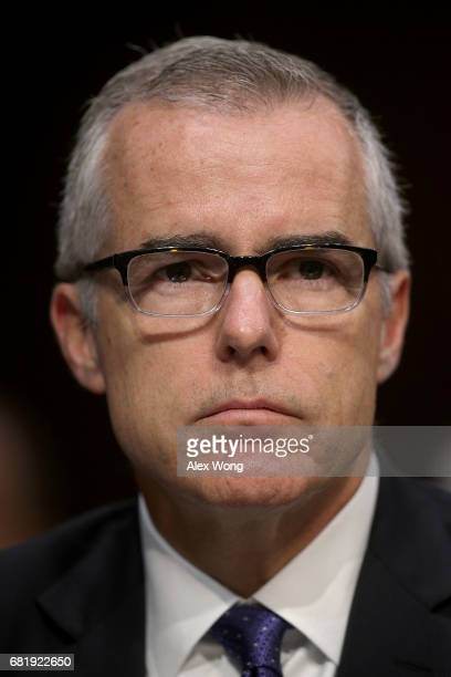 Acting FBI Director Andrew McCabe testifies before the Senate Intelligence Committee with the other heads of the US intelligence agencies in the Hart...