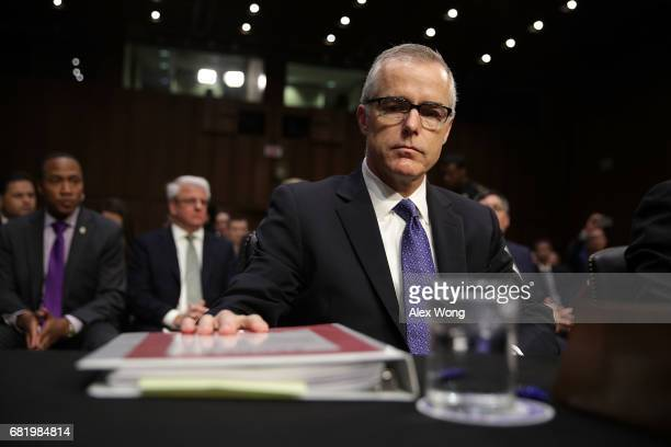 Acting FBI Director Andrew McCabe waits for the beginning of a hearing before the Senate Intelligence Committee with the other heads of the US...