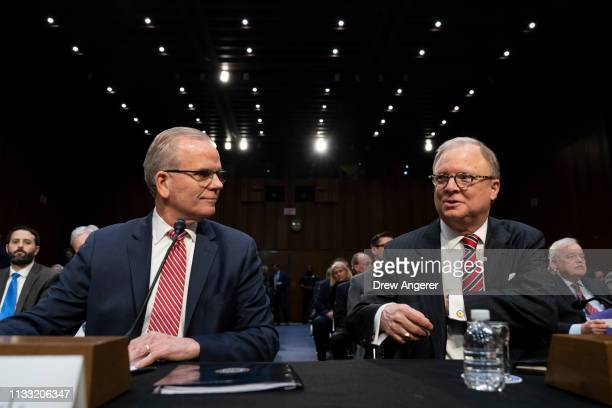 Acting Federal Aviation Administration Administrator Daniel Elwell and Chairman of the National Transportation Safety Board Robert Sumwalt take their...