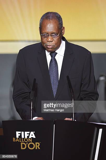Acting FIFA President Issa Hayatou addresses the guests during the FIFA Ballon d'Or Gala 2015 at the Kongresshaus on January 11, 2016 in Zurich,...