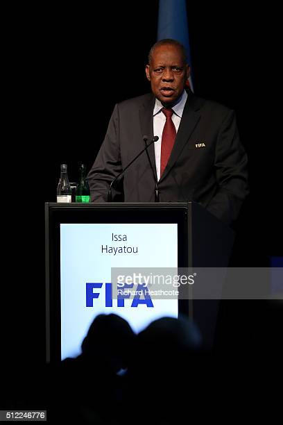 Acting FIFA President Issa Hayatou addresses the UEFA XI Extraordinary Congress at the Swissotel on February 25, 2016 in Zurich, Switzerland. FIFA...