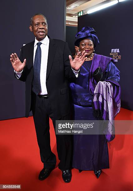 Acting FIFA President Issa Hayatou and his wife attend the FIFA Ballon d'Or Gala 2015 at the Kongresshaus on January 11, 2016 in Zurich, Switzerland.