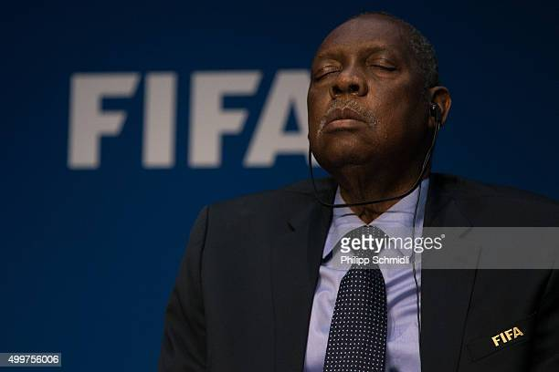 Acting FIFA President Issa Hayatou attends a FIFA Executive Committee Meeting Press Conference at the FIFA headquarters on December 3, 2015 in...