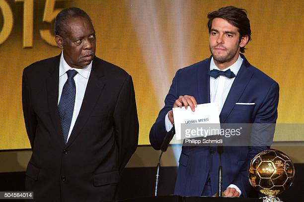 Acting FIFA President Issa Hayatou looks on as Kaka announces Lionel Messi as the winner of the FIFA Ballon d'Or during the FIFA Ballon d'Or Gala...