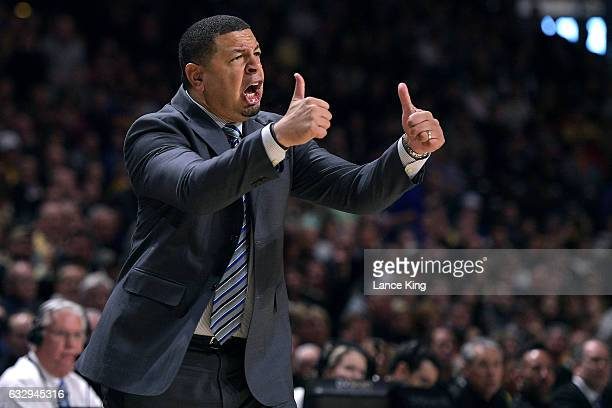 Acting head coach Jeff Capel of the Duke Blue Devils reacts during their game against the Wake Forest Demon Deacons at LJVM Coliseum Complex on...