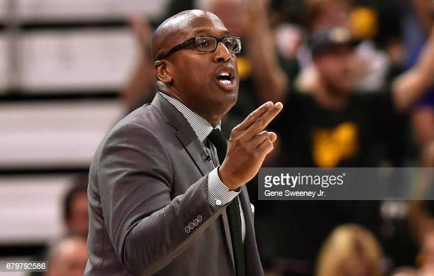 Acting head coach Mike Brown of the Golden State Warriors gestures during the first half against the Utah Jazz in Game Three of the Western...
