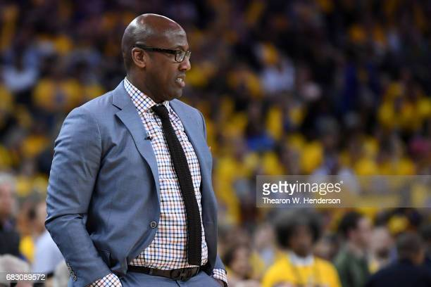 Acting head coach Mike Brown of the Golden State Warriors looks on during Game One of the NBA Western Conference Finals against the San Antonio Spurs...