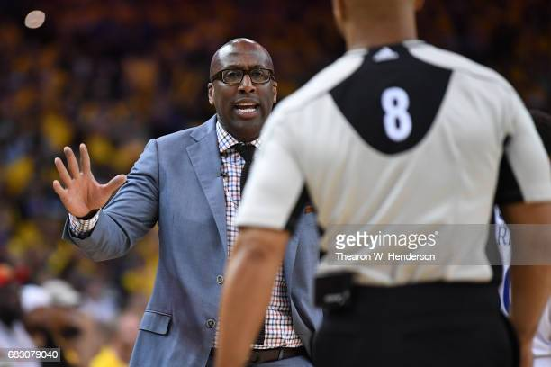 Acting head coach Mike Brown of the Golden State Warriors reacts to a call during Game One of the NBA Western Conference Finals against the San...