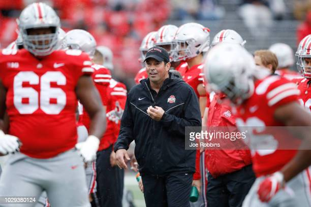 Acting head coach Ryan Day of the Ohio State Buckeyes looks on before the game against the Rutgers Scarlet Knights at Ohio Stadium on September 8,...
