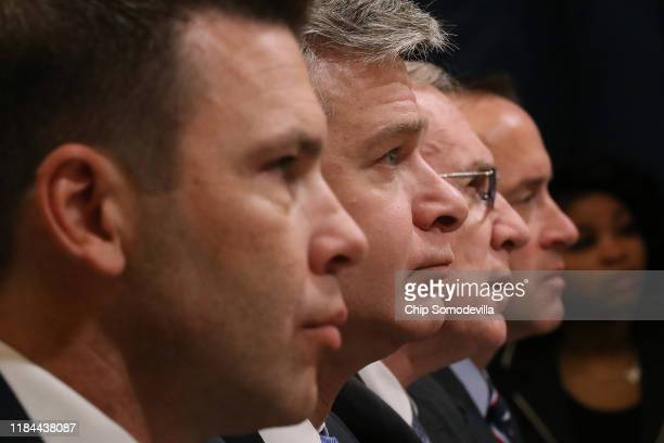 Acting Homeland Security Secretary Kevin McAleenan, Federal Bureau of Investigation Director Christopher Wray, acting Director of the National...