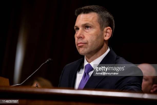 Acting Homeland Security Secretary Kevin McAleenan listens during a hearing with the Senate Judiciary Committee on Capitol Hill on June 11 2019 in...