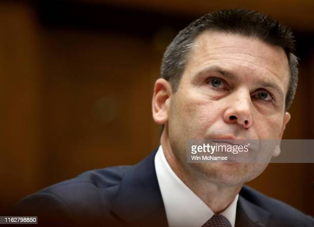 Acting Homeland Security Secretary Kevin McAleenan testifies before the House Oversight and Reform Committee on July 18 2019 in Washington DC The...