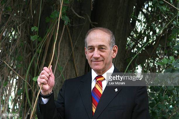 Acting Israeli Prime Minister Ehud Olmert poses for a picture at his home in Jerusalem Tuesday, March 07, 2006. Olmert said Tuesday that his Kadima...