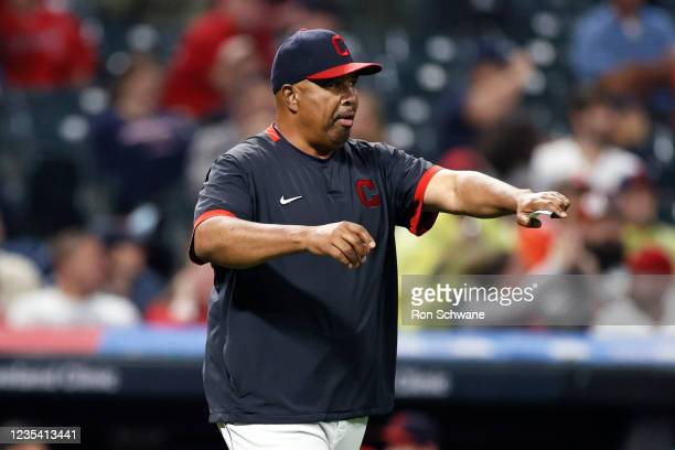Acting Manager DeMarlo Hale of the Cleveland Indians calls for a relief pitcher against the Kansas City Royals during the seventh inning at...
