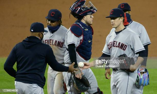 Acting manager Sandy Alomar Jr #15 of the Cleveland Indians pulls pitcher Phil Maton during the eighth inning of a 52 loss the Detroit Tigers at...