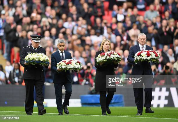 Acting Metropolitan Police Commissioner Craig Mackey Mayor of London Sadiq Khan Karen Bradley Secretary of State for Culture Media and Sport and FA...