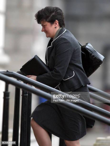 Acting Northern Ireland First Minister, Arlene Foster, arrives at Stormont today, on her first day as Minister after Peter Robinson stood down...