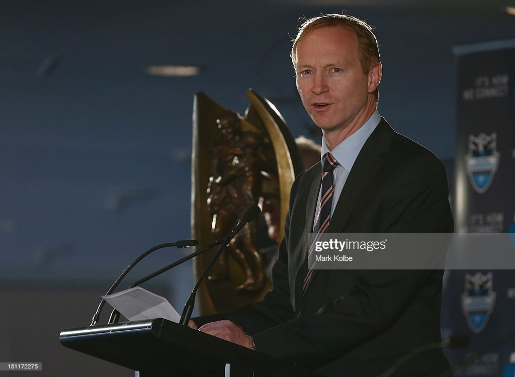 Acting NRL chief executive Shane Mattiske speaks to the media during the 2012 NRL finals series launch at Allianz Stadium on September 3, 2012 in Sydney, Australia.