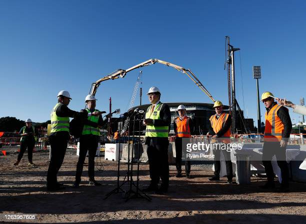 Acting NSW Sports Minister Geoff Lee speaks to the media at the Sydney Football Stadium on August 05 2020 in Sydney Australia Construction on the new...