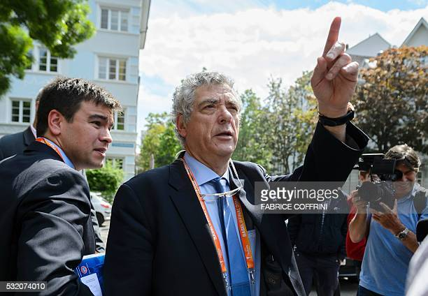 UEFA acting president Angel Maria Villar gestures while leaving an extraordinary meeting on May 18 2016 in Basel UEFA's executive committee is...