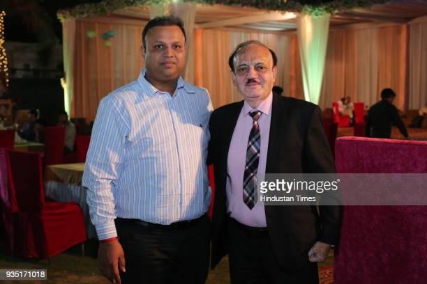 BCCI acting president CK Khanna with educationist Kunal Gupta during the wedding reception of Indian cricketer Parvinder Awana and Sangit Awana at...