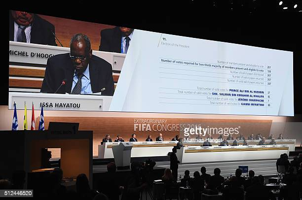 Acting President Issa Hayatou announces the result of the first vote during the Extraordinary FIFA Congress at Hallenstadion on February 26, 2016 in...