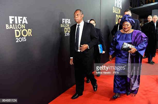 Acting President Issa Hayatou arrives for the FIFA Ballon d'Or Gala 2015 at the Kongresshaus on January 11, 2016 in Zurich, Switzerland.