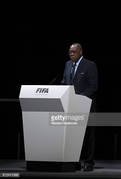 Acting President Issa Hayatou talks during the Extraordinary FIFA Congress at Hallenstadion on February 26, 2016 in Zurich, Switzerland.