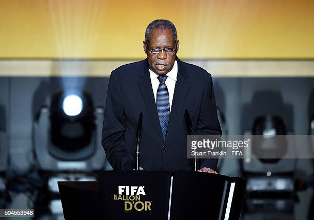 Acting President Issa Hayatou talks during the FIFA Ballon d'Or Gala 2015 at the Kongresshaus on January 11, 2016 in Zurich, Switzerland.