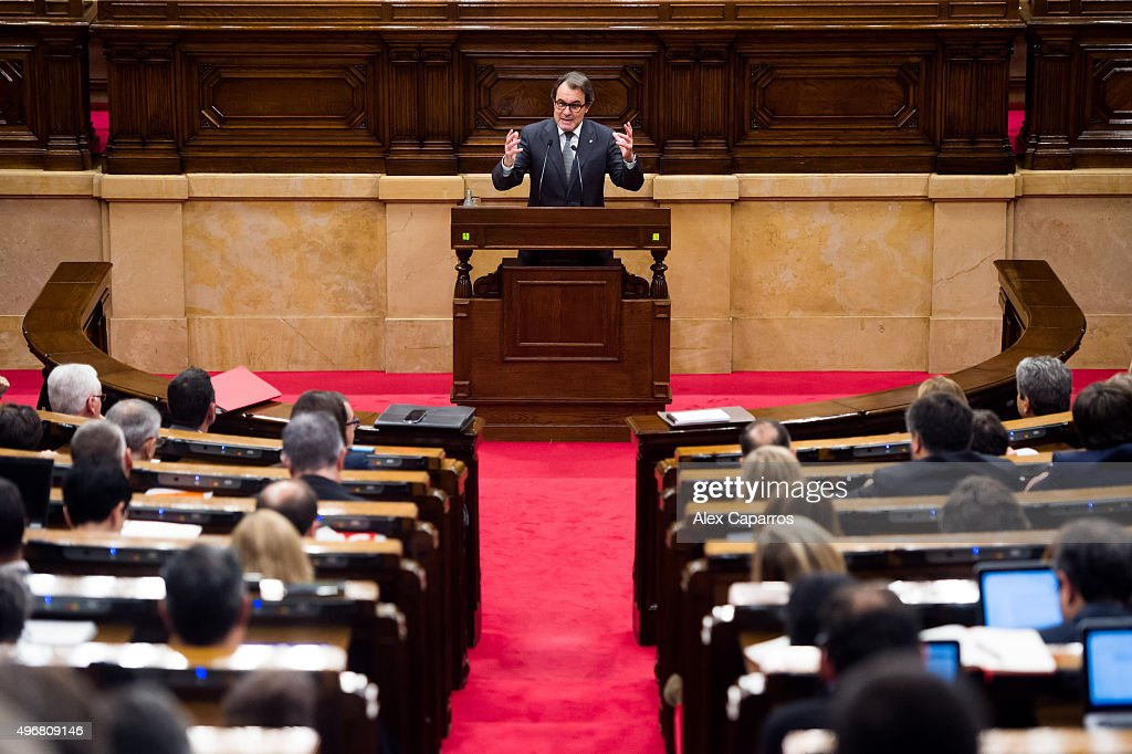 Acting President of Catalonia Artur Mas gives a speech to the chamber during the parliamentary session debating on his investiture as new President of Catalonia on November 12, 2015 in Barcelona, Spain. The Catalan Parliament has voted against Artur Mas being invested as new President of Catalonia with 62 votes in favor and 73 votes against the day after Spanish Constitutional Court has suspended the motion approved by Catalan Parliament on November 9 declaring the start of secession process of Spain.