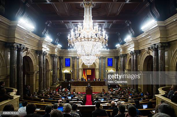 Acting President of Catalonia Artur Mas gives a speech to the chamber during the parliamentary session debating on his investiture as new President...