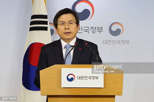 Acting President of South Korea Hwang KyoAhn speaks during the statement to the nation after parliament passed the impeachment motion against...
