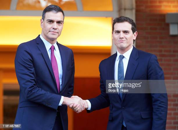 Acting President Pedro Sanchez receives the leader of the Ciudadanos party Albert Rivera on October 16 2019 in Madrid Spain Violent protests erupted...